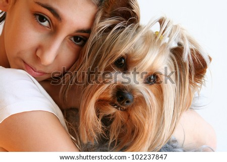 Girl with Yorkshire Terrier Portrait