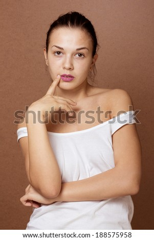 girl without make-up and cosmetics.  natural skin. portrait for retouch, school projects. - stock photo