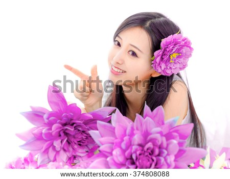 girl woman with pink fowers spa fashion japanese style