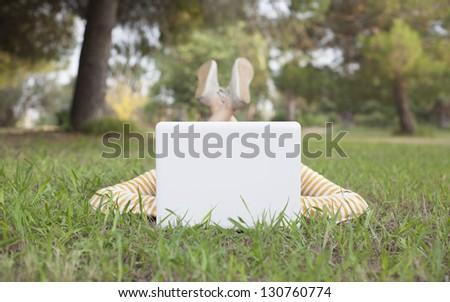 Girl working on computer - stock photo