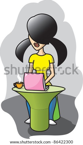 Girl works with computer