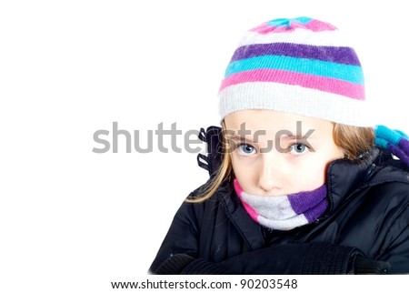 Girl wrapped up warm - stock photo