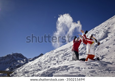 girlfriends are taking fun in mountains - stock photo