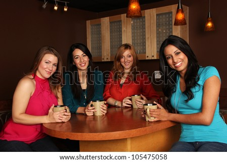 Girlfriends at the Coffee Shop - stock photo