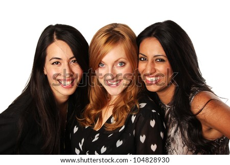 Girlfriends- Diverse Group of Girls Together - stock photo