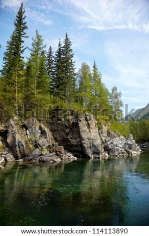 Girlish Reaches of mountain Altai river  Kumir - stock photo