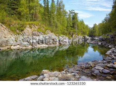 Girlish Reaches of mountain Altai river  Kumir - stock photo