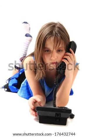 girls and phone  - stock photo