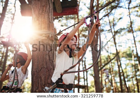 girls at the rope park - stock photo