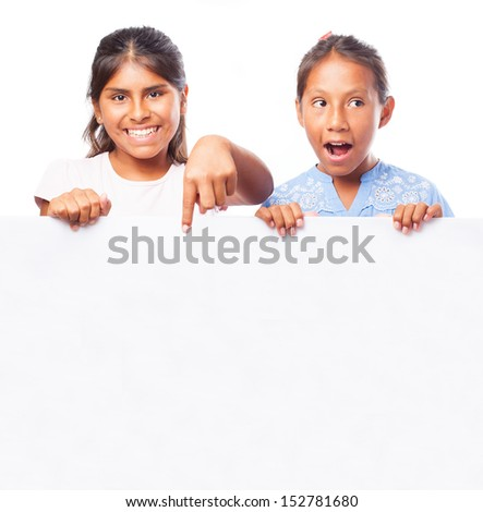 girls behind a banner on a white background - stock photo