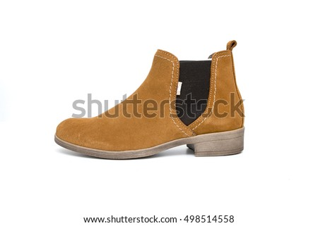 girls boots brown in white background