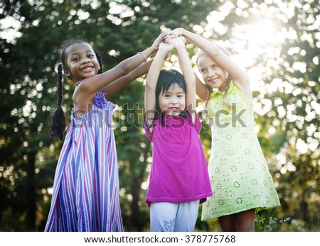 Girls Children Friends Smiling Happiness Concept - stock photo