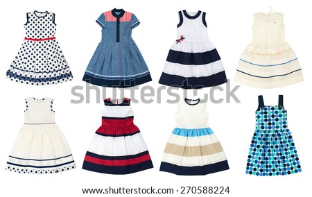 Girls dresses isolated on white background. Collage of eight photos. - stock photo