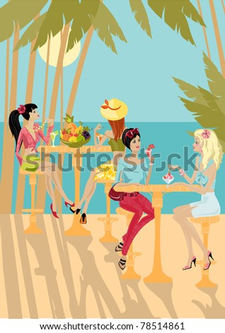 girls eat on the background of a tropical landscape