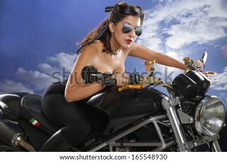 Girls enjoy bikes too - stock photo