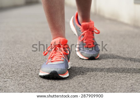 girls foot with shoe for running - stock photo