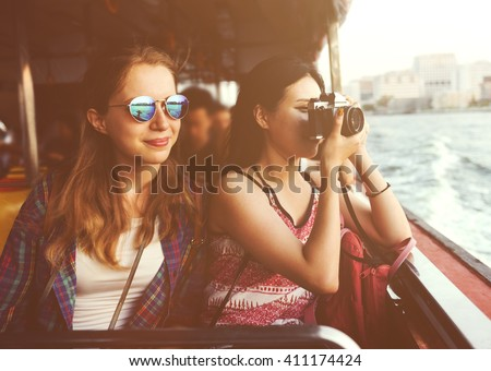 Girls Friendship Hangout Traveling Holiday Photography Concept - stock photo