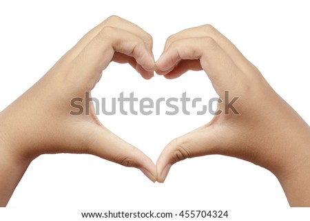 Girls hand using a heart symbol. To show love