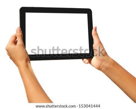 girls hands holding a tablet touch computer gadget with isolated screen - stock photo