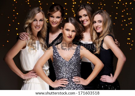 Girls have a new year party celebration - stock photo