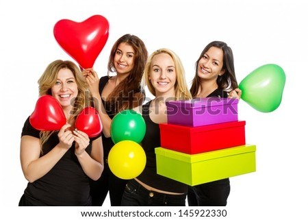 Girls having a party with baloons on white background - stock photo