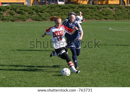 Girls high school soccer. Editorial use only.