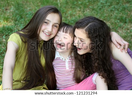 Girls in the park. - stock photo