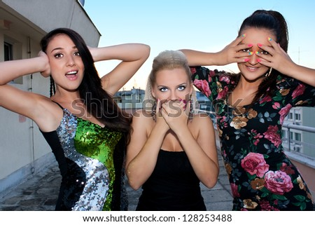 Girls in three different expression, no see, no hear and no talk - stock photo