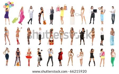 Girls isolated on white - stock photo