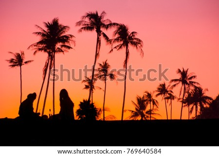 Girls On Beach Drinking and Relaxing with Palm Trees Behind Them. Nice Pink and Orange Sunset