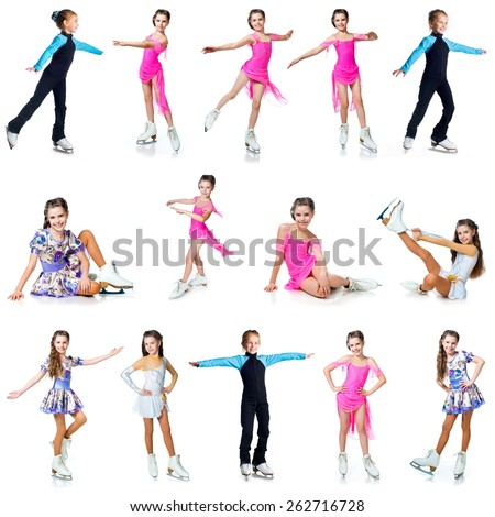Girls on skates isolated on a white background - stock photo