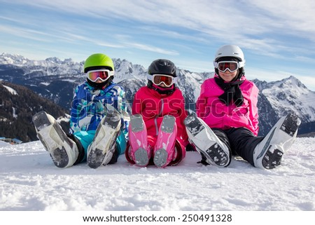 Girls on the snow - stock photo