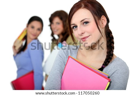Girls out of class - stock photo