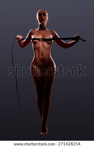 Girls play in fetish games with slavery role - stock photo
