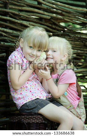 Girls play with chicken - stock photo