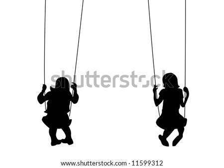 girls playing on swings - stock photo