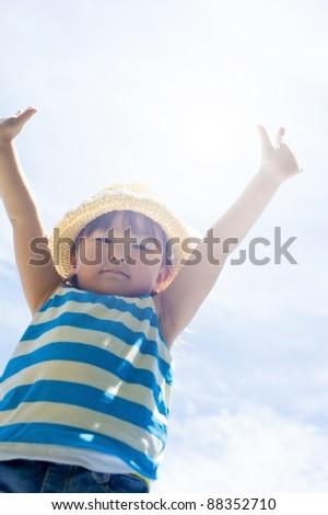 Girls raise their hands - stock photo
