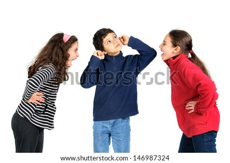 Girls screaming at a boy, who is covering his ears with fingers