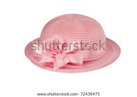 Girls small hat isolated on white for Easter or spring high key applications - stock photo