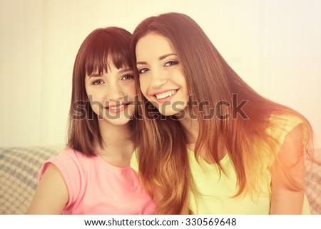 Girls smiling portraits - stock photo