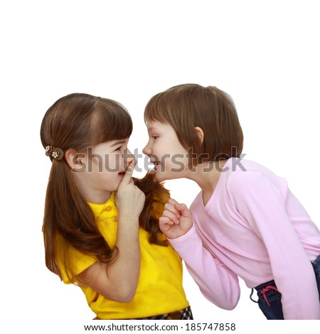 Girls tell each other secrets isolated on white background - stock photo