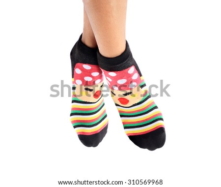 Girls wearing striped socks colorful beauty for warmth in winter.  - stock photo