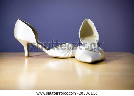 Girls Wedding Shoes Pre Wedding Preperations - stock photo