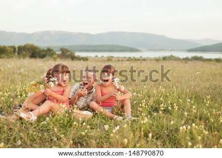 Girls with basket blackberries - stock photo