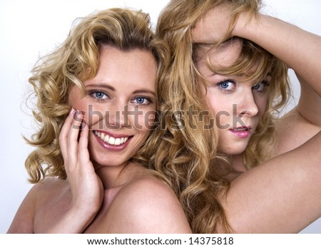 Girls with curly hair - stock photo