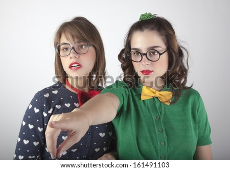 girls with glasses and colorful clothes