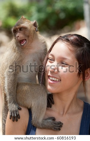 Girls with monkey