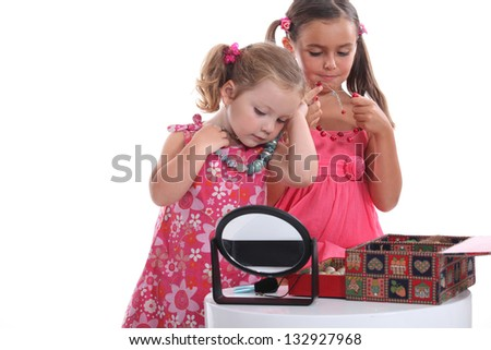girls with necklaces - stock photo