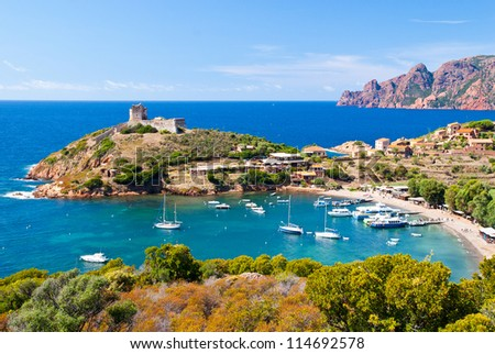 Girolata bay in natural reserve of Scandola, Corsica - stock photo