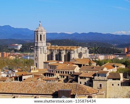 Girona cityscape with the magnificient cathedral, photo was taken from the city walls, Catalonia, Spain.